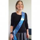 Blå sash med silvertryck
