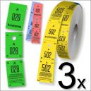 Tre delar cloakroom biljetter i rullformat