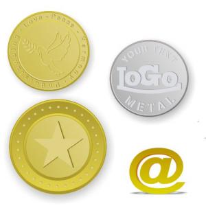 Mässingstunkar och mynt präglade med logotyp och text