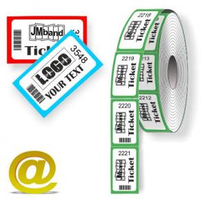 Anpassade termiska termiska rulla biljetter med text och logotyplogotyp