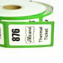 Biljetter i rullformat med logotyp och text