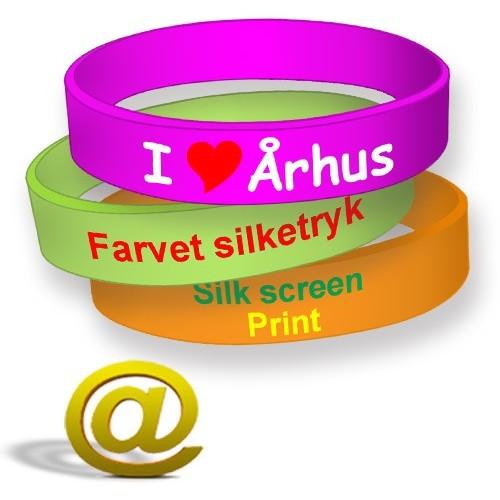 Tryckta silikonarmband med logotyp och text