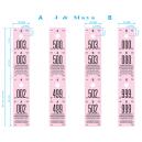 Mått och storlekar på cloakroom-biljetter rullar 500 X 2