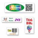 Skräddarsydda klistermärken i A4-format med text och logotyp