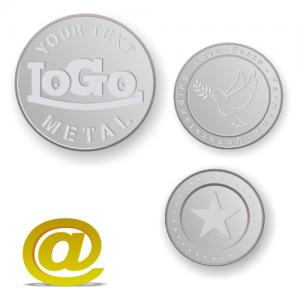 Aluminium tokens och mynt präglade med logotyp och text