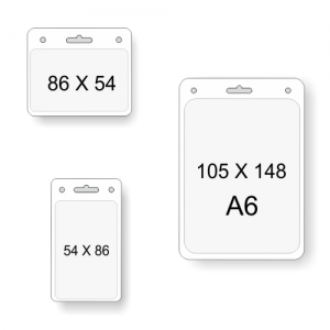 Transparenta kortfickor i olika storlekar