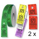 Garderobsbiljetter rulle 500 två delar