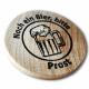 Trä tokens utskrivna med logotyp och text